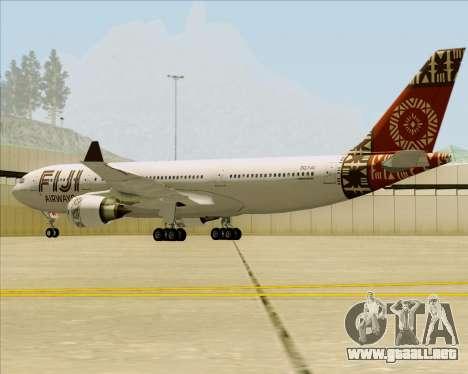 Airbus A330-200 Fiji Airways para GTA San Andreas vista hacia atrás