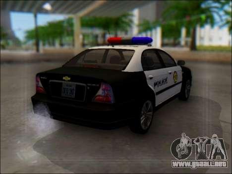 Chevrolet Evanda Police para GTA San Andreas vista hacia atrás