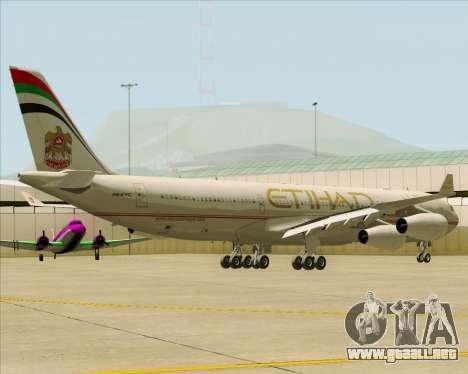 Airbus A340-313 Etihad Airways para GTA San Andreas vista hacia atrás