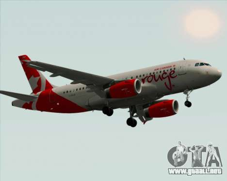 Airbus A319 Air Canada Rouge para visión interna GTA San Andreas