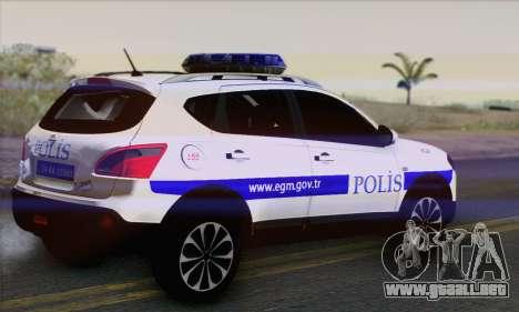 Nissan Qashqai TR de la POLICÍA para GTA San Andreas left