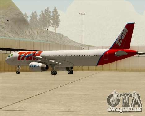 Airbus A321-200 TAM Airlines para vista inferior GTA San Andreas