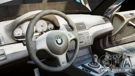 BMW M3 E46 Emre AKIN Edition para GTA 4 vista hacia atrás