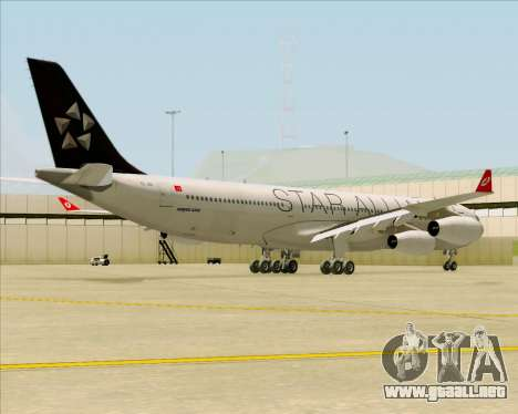 Airbus A340-311 Turkish Airlines (Star Alliance) para la visión correcta GTA San Andreas