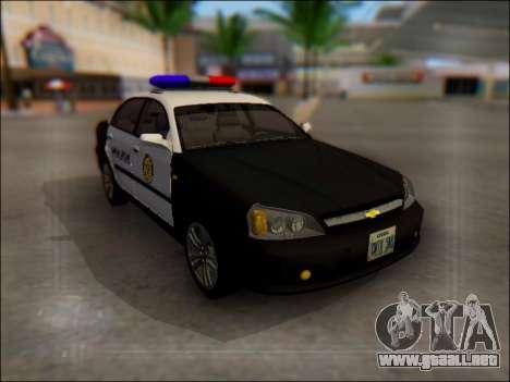 Chevrolet Evanda Police para vista lateral GTA San Andreas