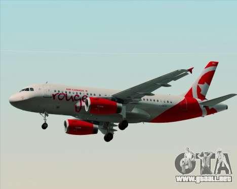 Airbus A319 Air Canada Rouge para GTA San Andreas vista posterior izquierda