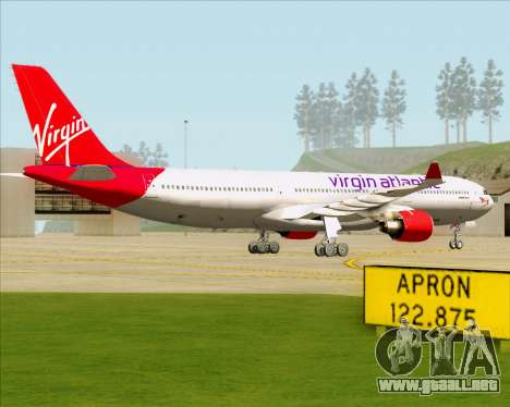 Airbus A330-300 Virgin Atlantic Airways para GTA San Andreas vista posterior izquierda