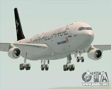 Airbus A340-311 Turkish Airlines (Star Alliance) para GTA San Andreas vista hacia atrás