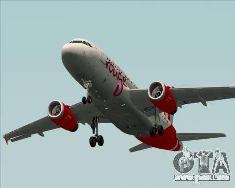 Airbus A319 Air Canada Rouge para la vista superior GTA San Andreas