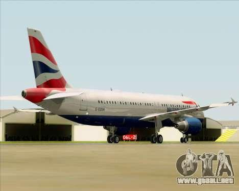 Airbus A320-232 British Airways para GTA San Andreas vista posterior izquierda