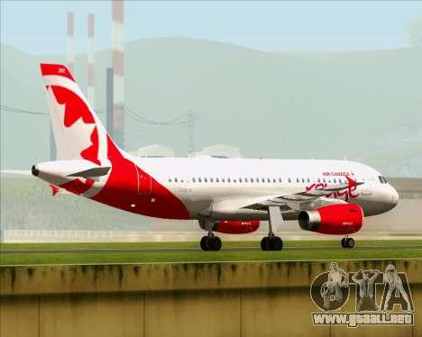 Airbus A319 Air Canada Rouge para GTA San Andreas vista hacia atrás