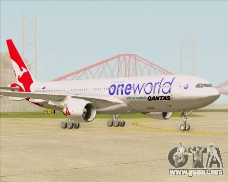 Airbus A330-200 Qantas Oneworld Livery para GTA San Andreas vista posterior izquierda