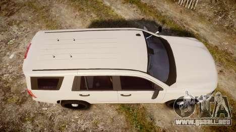 Chevrolet Tahoe 2015 PPV Slicktop [ELS] para GTA 4 visión correcta