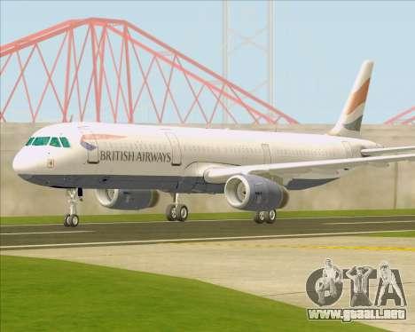 Airbus A321-200 British Airways para vista lateral GTA San Andreas