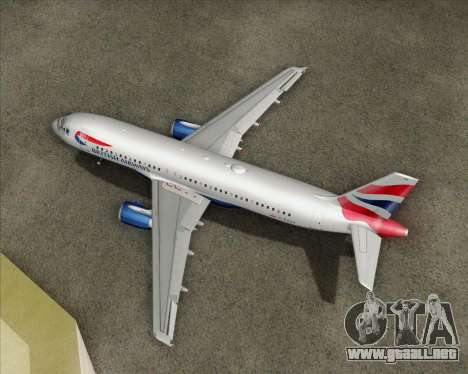Airbus A320-232 British Airways para vista lateral GTA San Andreas