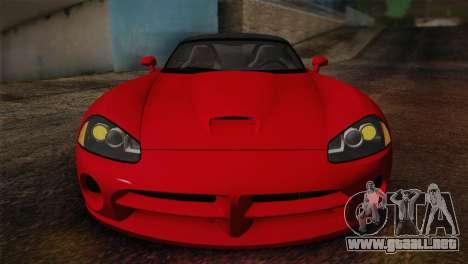 Dodge Viper SRT-10 2003 para la visión correcta GTA San Andreas
