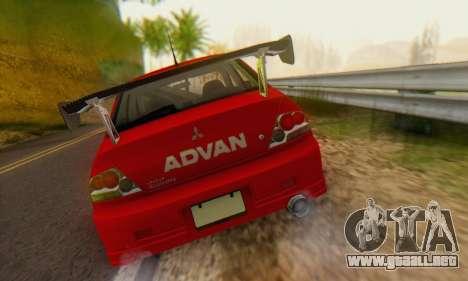 Mitsubishi Lancer Turkis Drift Advan para GTA San Andreas vista hacia atrás