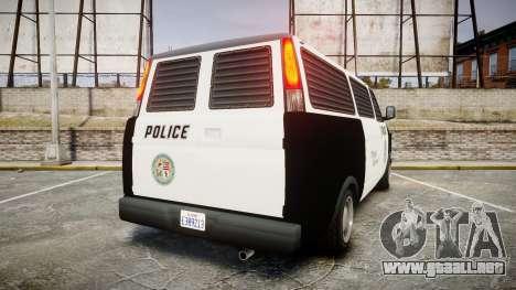 Declasse Burrito Police Transporter LED [ELS] para GTA 4 Vista posterior izquierda
