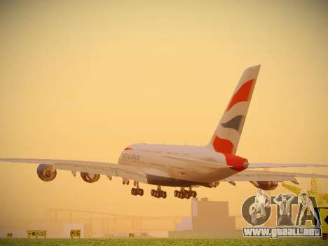 Airbus A380-800 British Airways para GTA San Andreas vista posterior izquierda