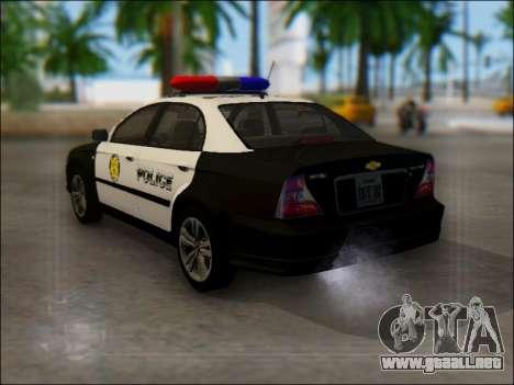 Chevrolet Evanda Police para GTA San Andreas vista posterior izquierda