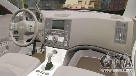 Infiniti FX 45 2008 LP para GTA 4 vista hacia atrás