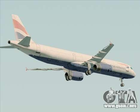 Airbus A321-200 British Airways para GTA San Andreas vista hacia atrás
