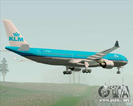 Airbus A330-300 KLM Royal Dutch Airlines para GTA San Andreas vista hacia atrás