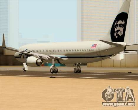 Boeing 737-890 Alaska Airlines para GTA San Andreas vista posterior izquierda