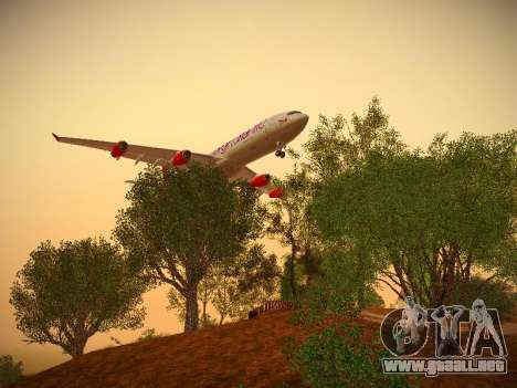 Airbus A340-300 Virgin Atlantic para GTA San Andreas vista hacia atrás