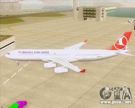 Airbus A340-313 Turkish Airlines para GTA San Andreas vista hacia atrás