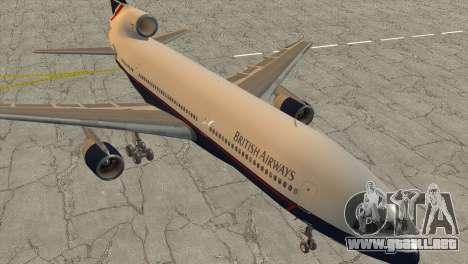 Lockheed L1011 Tristar British Airways para GTA San Andreas vista posterior izquierda