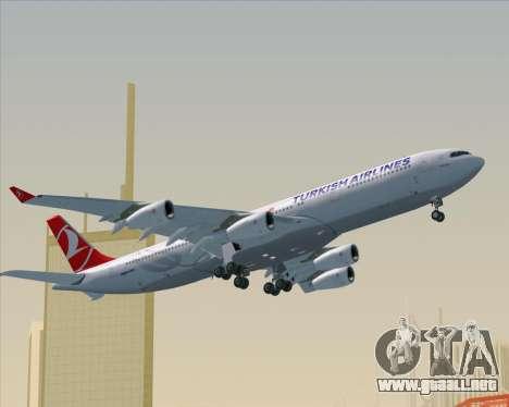 Airbus A340-313 Turkish Airlines para la vista superior GTA San Andreas