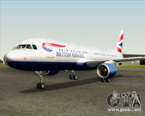 Airbus A320-232 British Airways para la vista superior GTA San Andreas