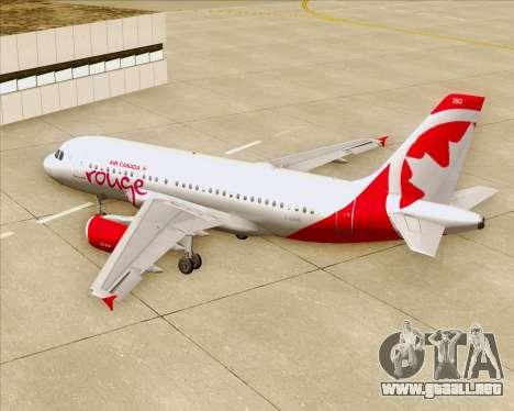 Airbus A319 Air Canada Rouge para el motor de GTA San Andreas