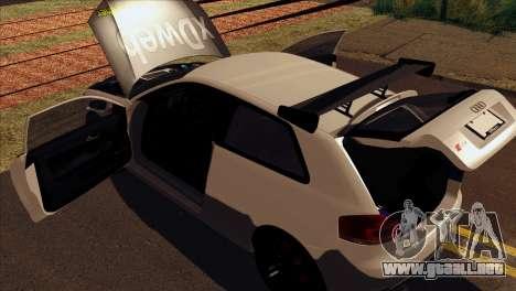 Audi S3 Tuned 2007 para GTA San Andreas vista hacia atrás