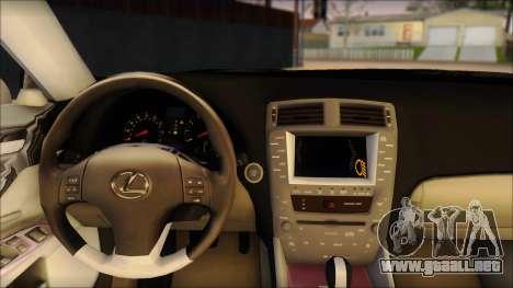 Lexus IS-F 2009 Police para GTA San Andreas vista posterior izquierda