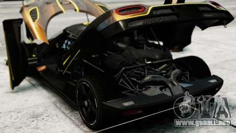 Koenigsegg Agera R 2013 PJ2 para GTA 4 vista hacia atrás