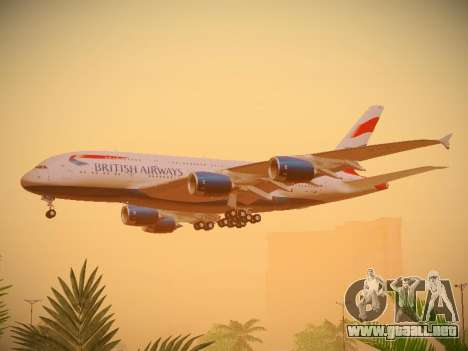 Airbus A380-800 British Airways para GTA San Andreas vista hacia atrás