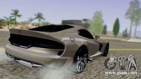 Dodge Viper SRT GTS 2013 Road version para GTA San Andreas vista posterior izquierda