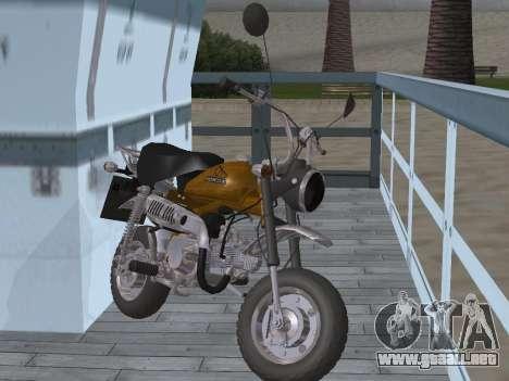 Honda Z50J Monkey para GTA San Andreas vista hacia atrás