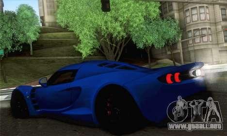 Hennessey Venom GT para GTA San Andreas vista posterior izquierda