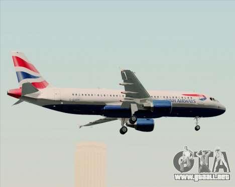 Airbus A320-232 British Airways para vista inferior GTA San Andreas