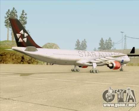 Airbus A330-300 SAS (Star Alliance Livery) para GTA San Andreas vista hacia atrás