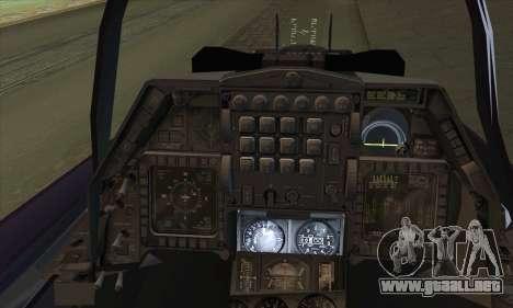F-16D Block 60 para GTA San Andreas vista posterior izquierda