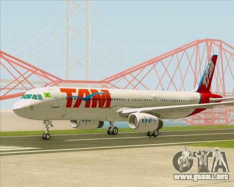 Airbus A321-200 TAM Airlines para vista lateral GTA San Andreas