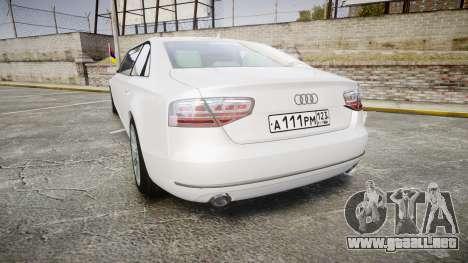 Audi A8 Limousine para GTA 4 Vista posterior izquierda
