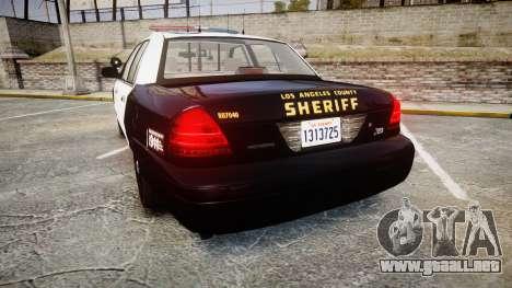 Ford Crown Victoria LASD [ELS] Marked para GTA 4 Vista posterior izquierda