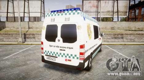 Mercedes-Benz Sprinter ARM Ambulance [ELS] para GTA 4 Vista posterior izquierda