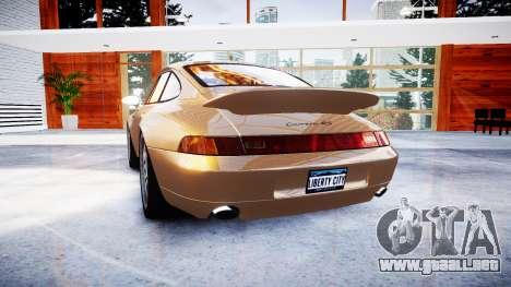 Porsche 911 Carrera RS 993 1995 para GTA 4 Vista posterior izquierda
