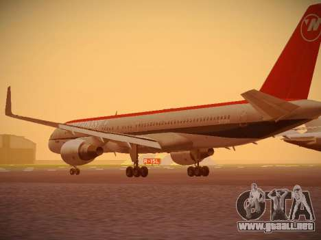 Boeing 757-251 Northwest Airlines para GTA San Andreas vista posterior izquierda